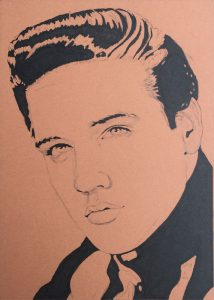 Work in progress on Elvis in Charcoal #229 by Rob de Vries