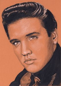 Elvis in Charcoal #229, drawing by Rob de Vries