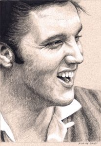Elvis in Charcoal drawing by Rob de Vries