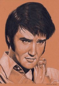 Elvis in Charcoal #232, drawing by Rob de Vries