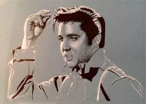 Elvis drawing in progress by Rob de Vries
