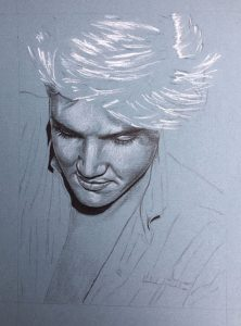 Elvis in charcoal no.234, drawing by Rob de Vries